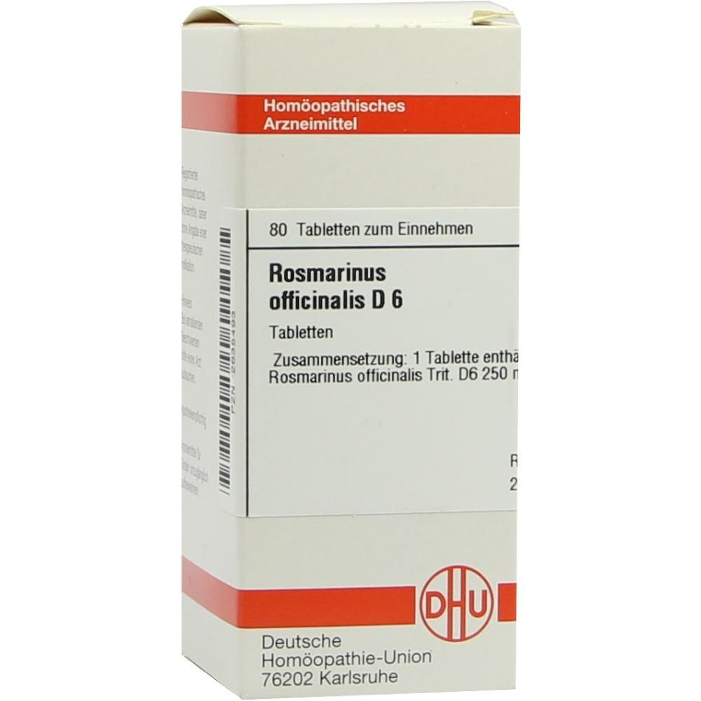 ROSMARINUS OFFICINALIS D 6 Tabletten:   Packungsinhalt: 80 St Tabletten PZN: 02635493 Hersteller: DHU-Arzneimittel GmbH & Co. KG Preis:…