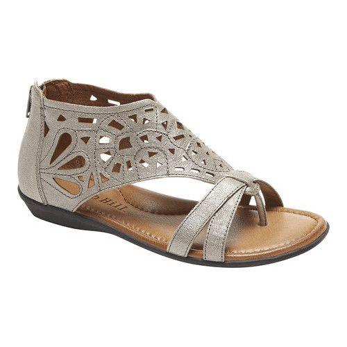 6b4bd76de Women s Rockport Cobb Hill Jordan Thong Sandal - Pewter Full Grain Leather  Sandals