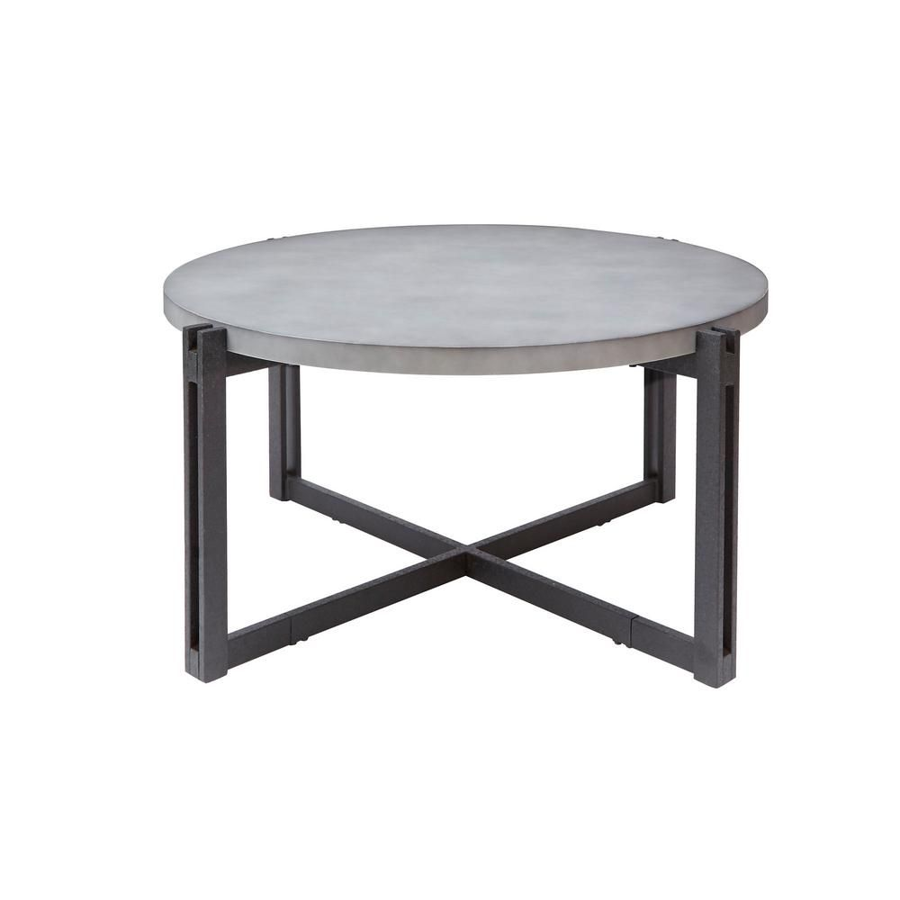 Silverwood Furniture Reimagined Dakota 39 In Black Medium Round Stone Coffee Table Cpft1275cofrcc The Home Depot Coffee Table Industrial Style Coffee Table Stone Coffee Table [ 1000 x 1000 Pixel ]