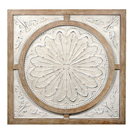 Cream Metal And Wood Medallion Wall Plaque Wall Medallion