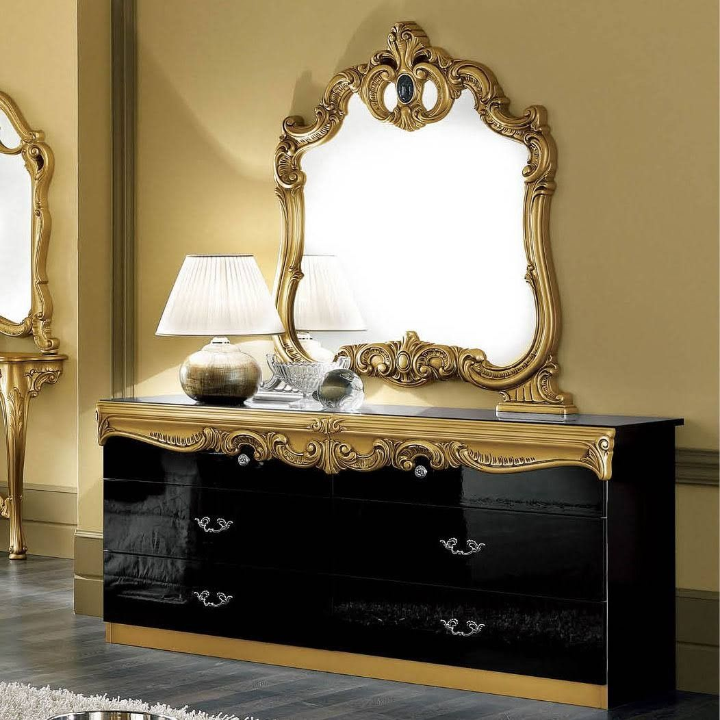 Esf Furniture Barocco Double Dresser With Mirror Set In Black Gold Baroccodresserblackg M