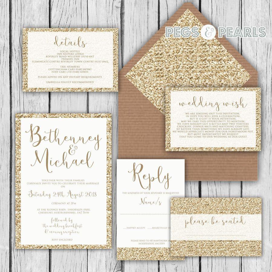 Personalised Luxury Wedding Invitations Gold Glitter Effect Packs Of 10 Wedding Invitations Gold Wedding Invitations Luxury Wedding Invitations