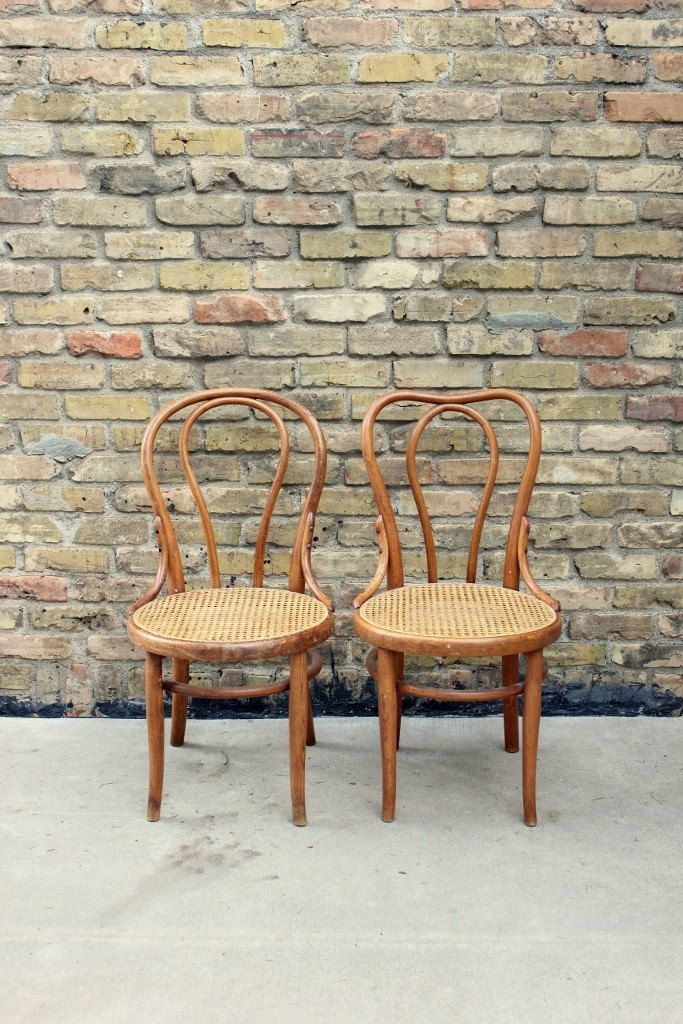 Antique Thonet Bentwood Chairs // Pair Of Wood Cafe Chairs // Turn Of The  Century Cane Seat Chairs