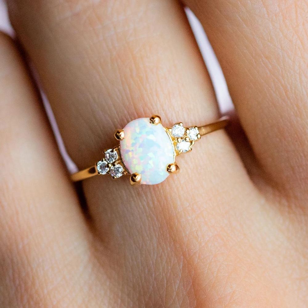 Sterling Opal Statement Ring ~ Vintage Modernist Three Opal Sterling Gold Ring ~ Unique Sterling Vermeil Opal Ring ~ Opal Sterling Gold Ring