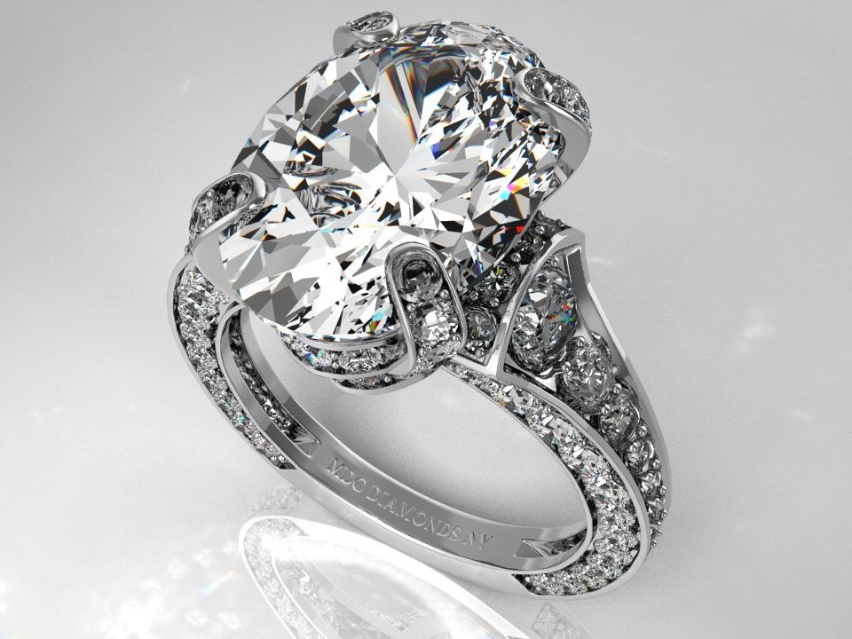 Engagement Ring Oval Diamond Cathedral Graduated pave