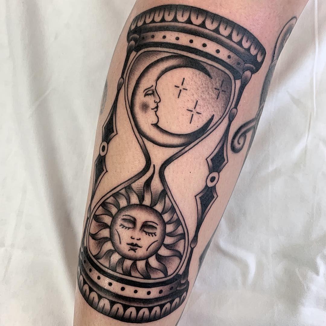 Sun Moon Hourglass Tattoo Blackwork Moon Tattoo Designs Moon Tattoo Tattoos