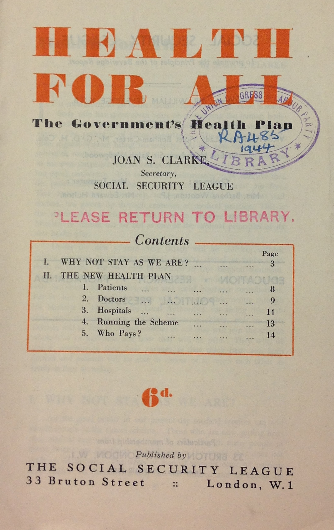 Health For All The Government S Health Plan Published By The