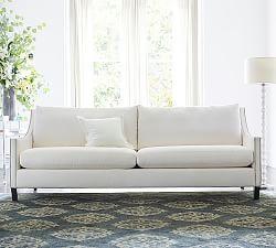 Bosworth Tufted Wool Rug Blue Upholstered Sofa Sofa