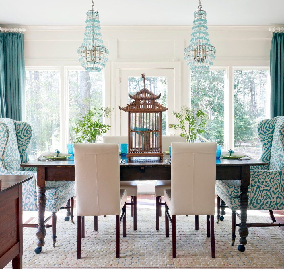 Lovely Bold Color Dining Room Eclectic With Wood Table On Wheels Turquoise Chandelier