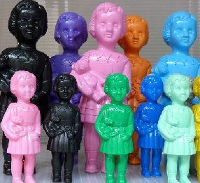 These amazing plastic dolls, known as Clonette Dolls, originated in the colonial era and are made in Ghana. They were the first industrially produced African doll and can still be found on markets to this day.
