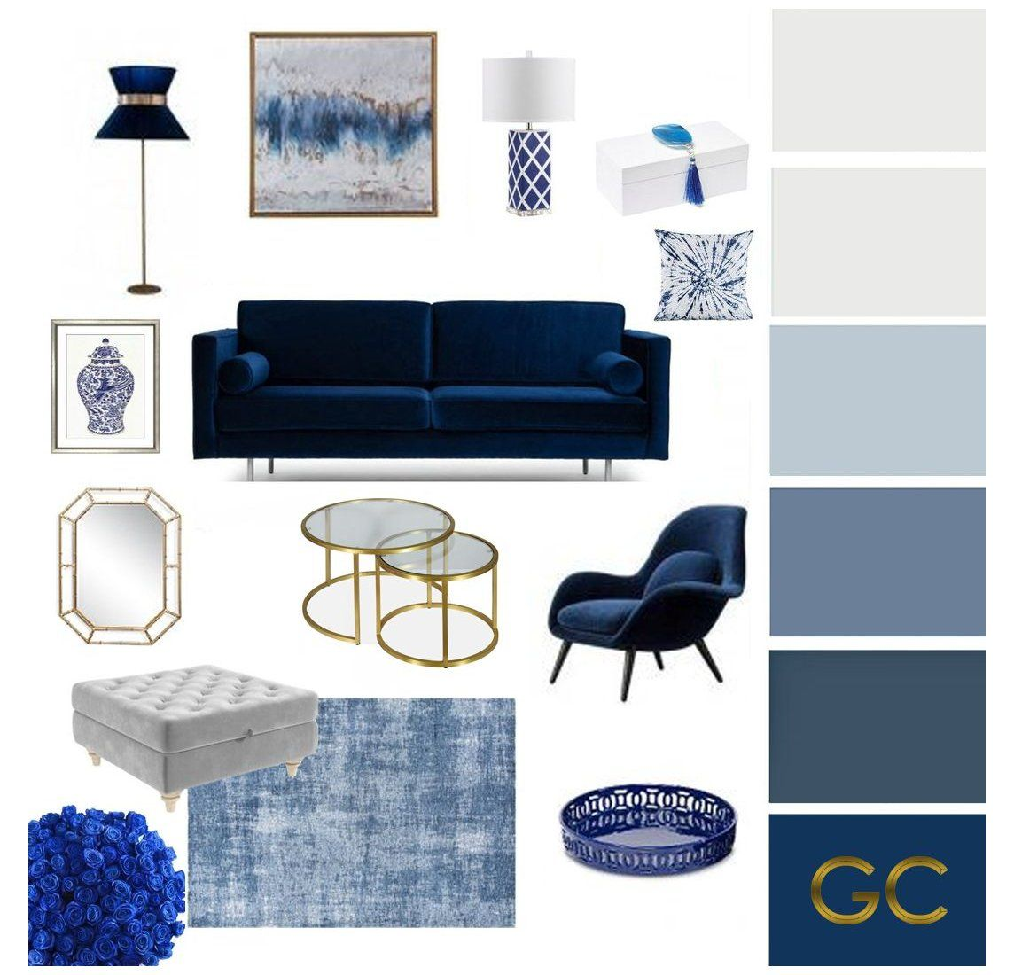 Blue Moodboard Living Room Grey And White Living Room Furniture Greyandwhitel In 2021 Blue Furniture Living Room Blue Living Room Decor Blue Sofas Living Room
