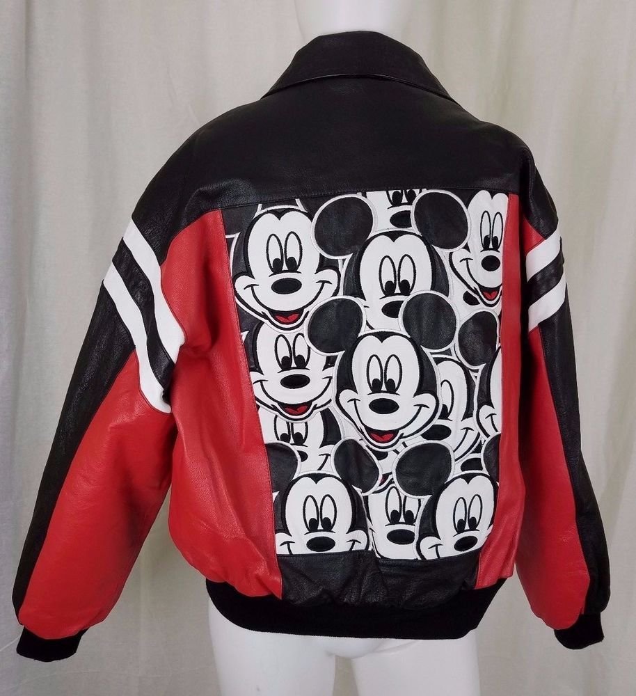 Mickey Unlimited Black Leather Bomber Jacket Disney Mickey Mouse Applique Mens L Black Leather Bomber Jacket Leather Bomber Jacket Bomber Jacket [ 1000 x 914 Pixel ]