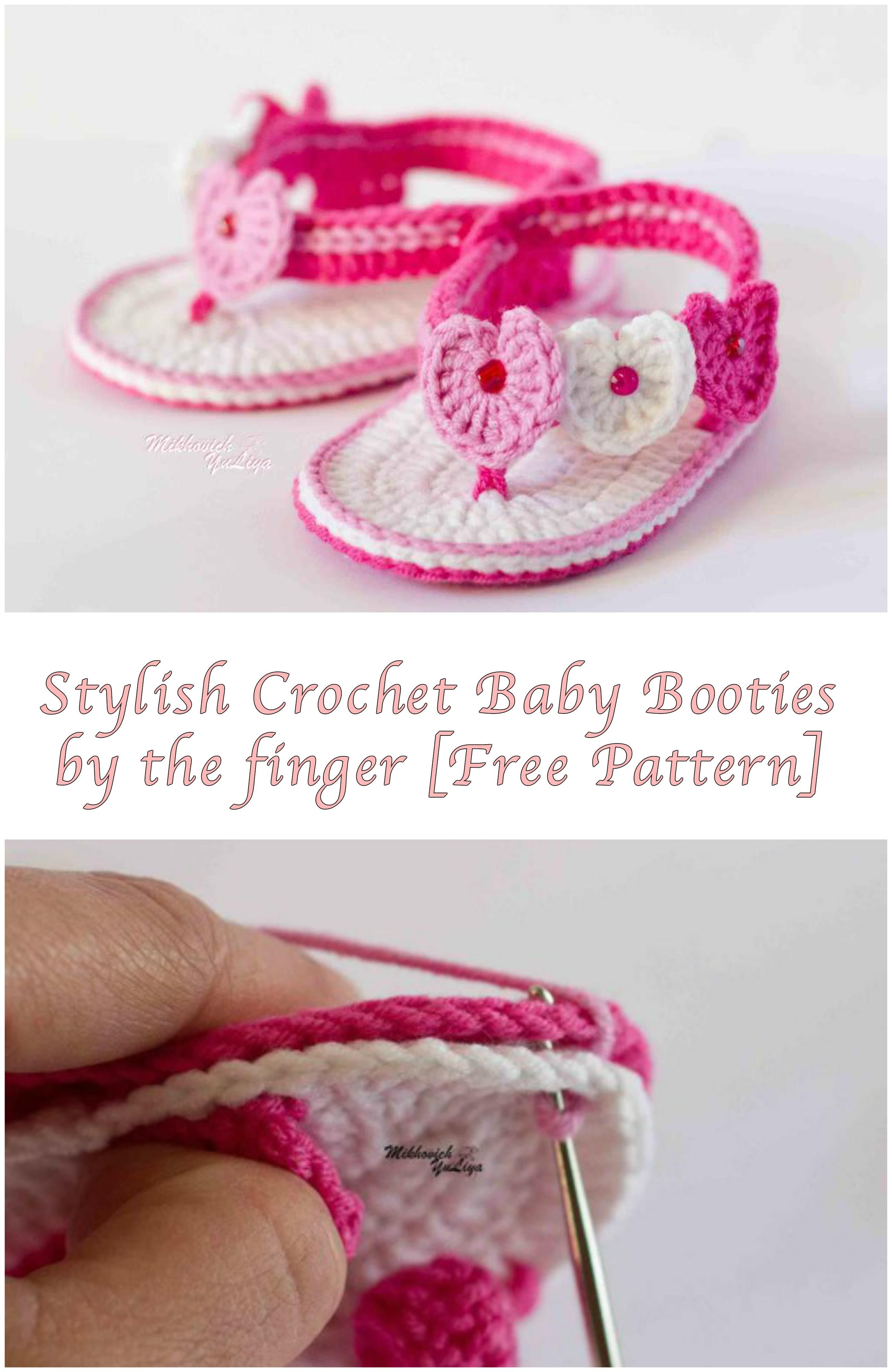Stylish Crochet Baby Booties by the finger [Free Pattern] | zapatos ...