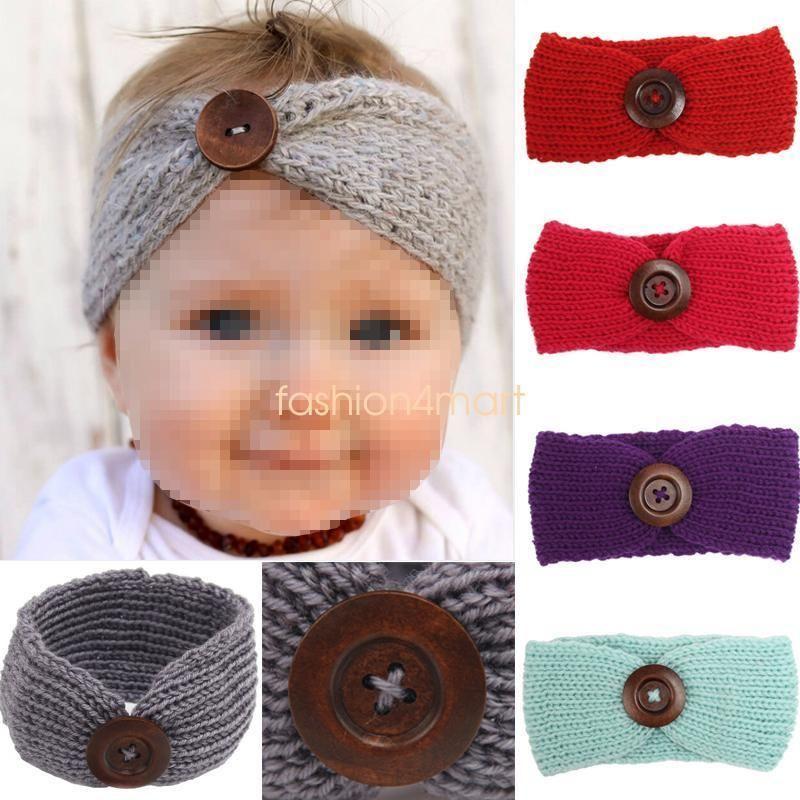 Baby Infant Newborn Girl Crochet Knitted Button Bow Headband Hair ...
