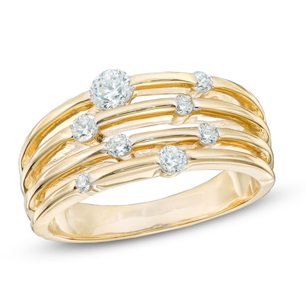 1 2 Ct T W Diamond Layered Orbit Ring In 10k Gold Zales Orbit Ring Diamond Fashion Rings Ladies Diamond Rings