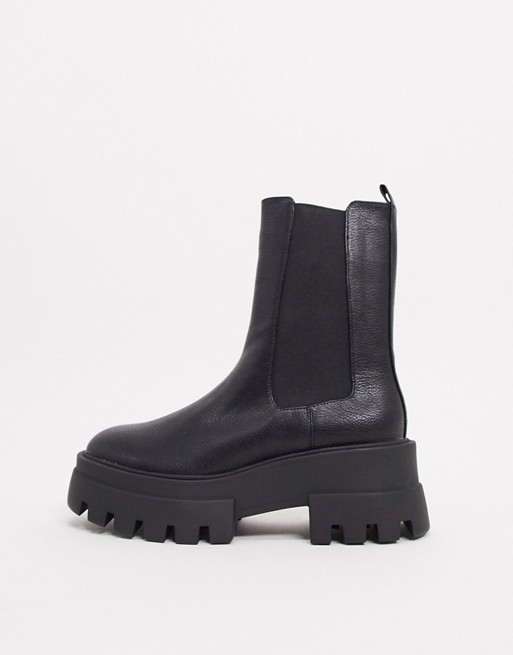 Pull Bear Platform Chelsea Boot With Cleated Sole In Black Asos Boots Platform Chelsea Boots Chelsea Boots