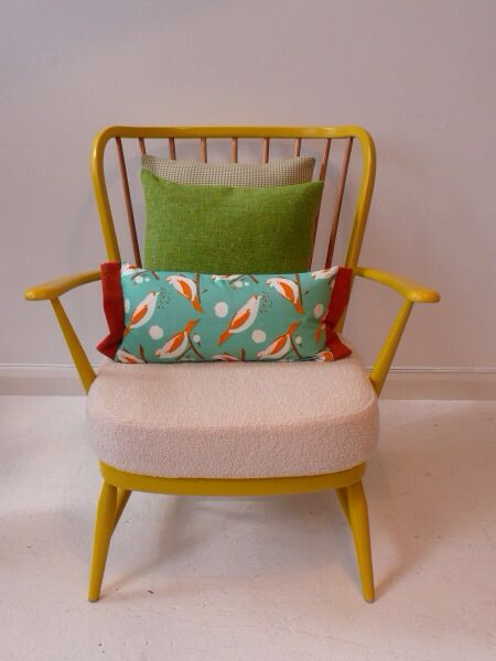 Ercol armchair painted with cushions | Upcycled ercol ...