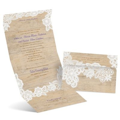 Embroidered Lace On Wood Background. Itu0027s A Seal U0026 Send Wedding Invitation    No Envelope