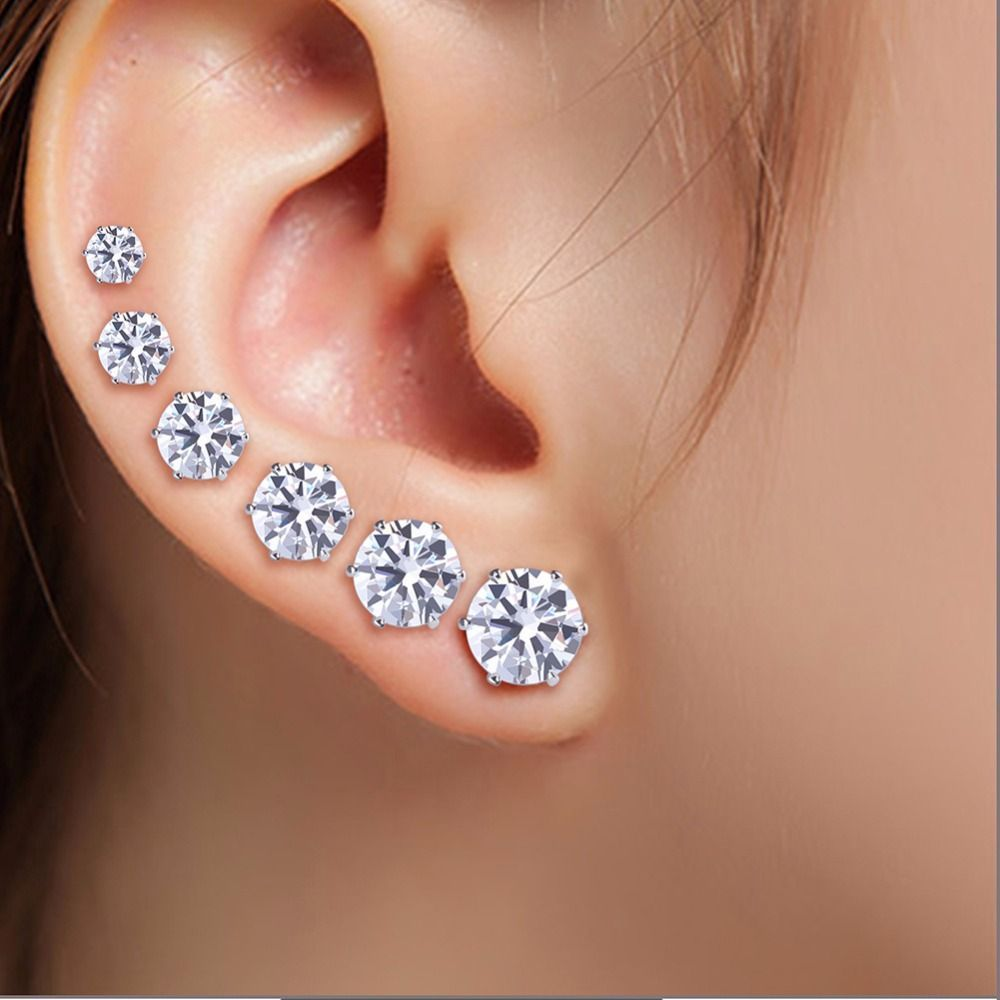 6 Pair Lot Aaa Cubic Zirconia Earrings For Men Women Stainless Steel Round Black White Zircon Stud Simple Jewelry