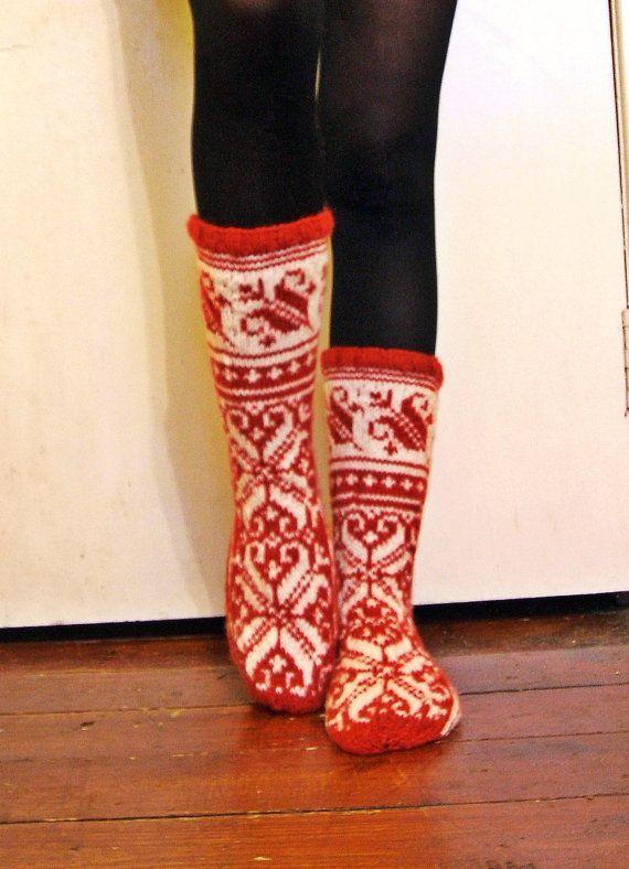 Hand-knitted Red White Wool Socks Scandinavian Fairisle Floral ...