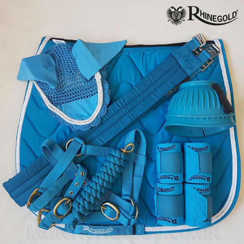 Rhinegold Wave Turquoise Saddle Pad Fly Veil Set Matchy Horsey Equestrian Outfits Horse Riding Gear Equestrian Helmet