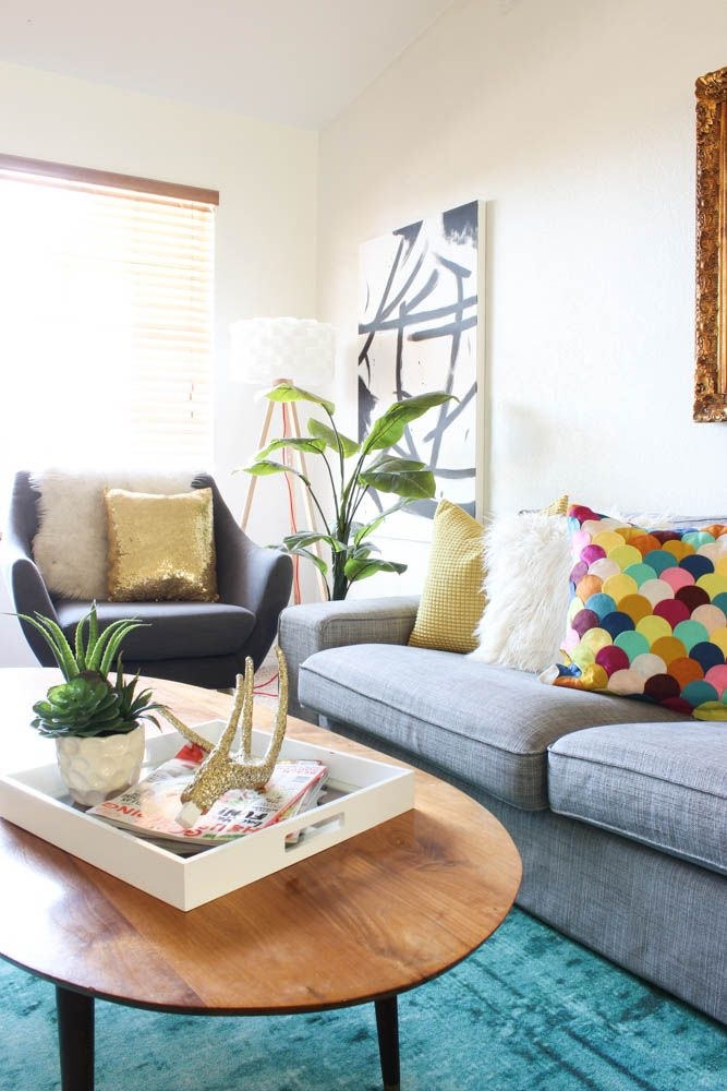 colorful mid century glam living room makeover | glam living room, living room inspiration