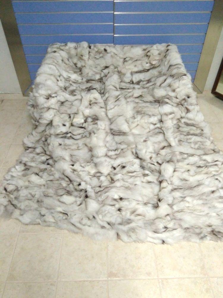 Luxus Blue Fox Pelz Uberwurf Echte Fuchs Fell Decke Tagesdecke