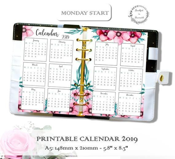 Yearly Calendar 2019, Ring Planner Insert, Printable