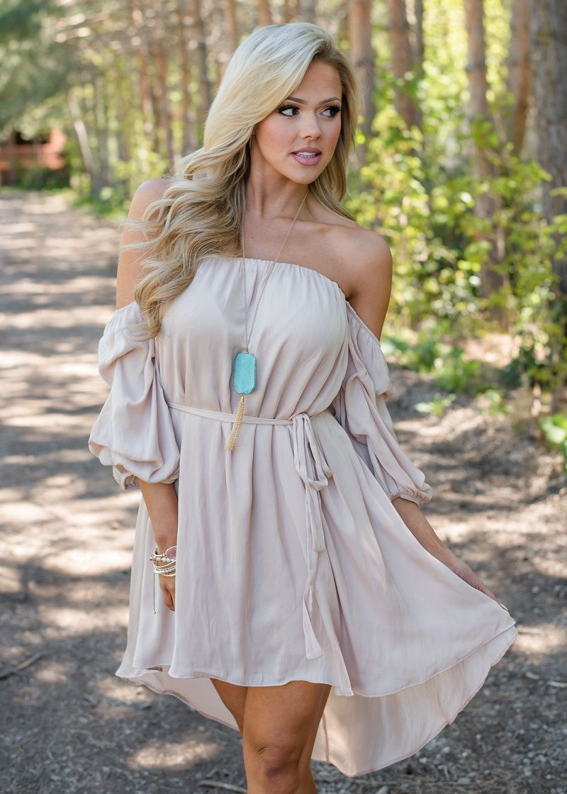 ad81202e0 With Harmony Off Shoulder Ruffle High Low Tie Dress Tan - Modern ...