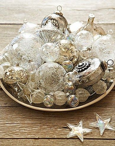 Silver And White Christmas Baubles Table Decor Christmas