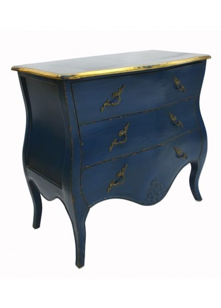 French Designer Furniture Chest Of Drawers Navy Blue Painted Funky