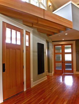 Wood Doors Windows With White Baseboard And Trim