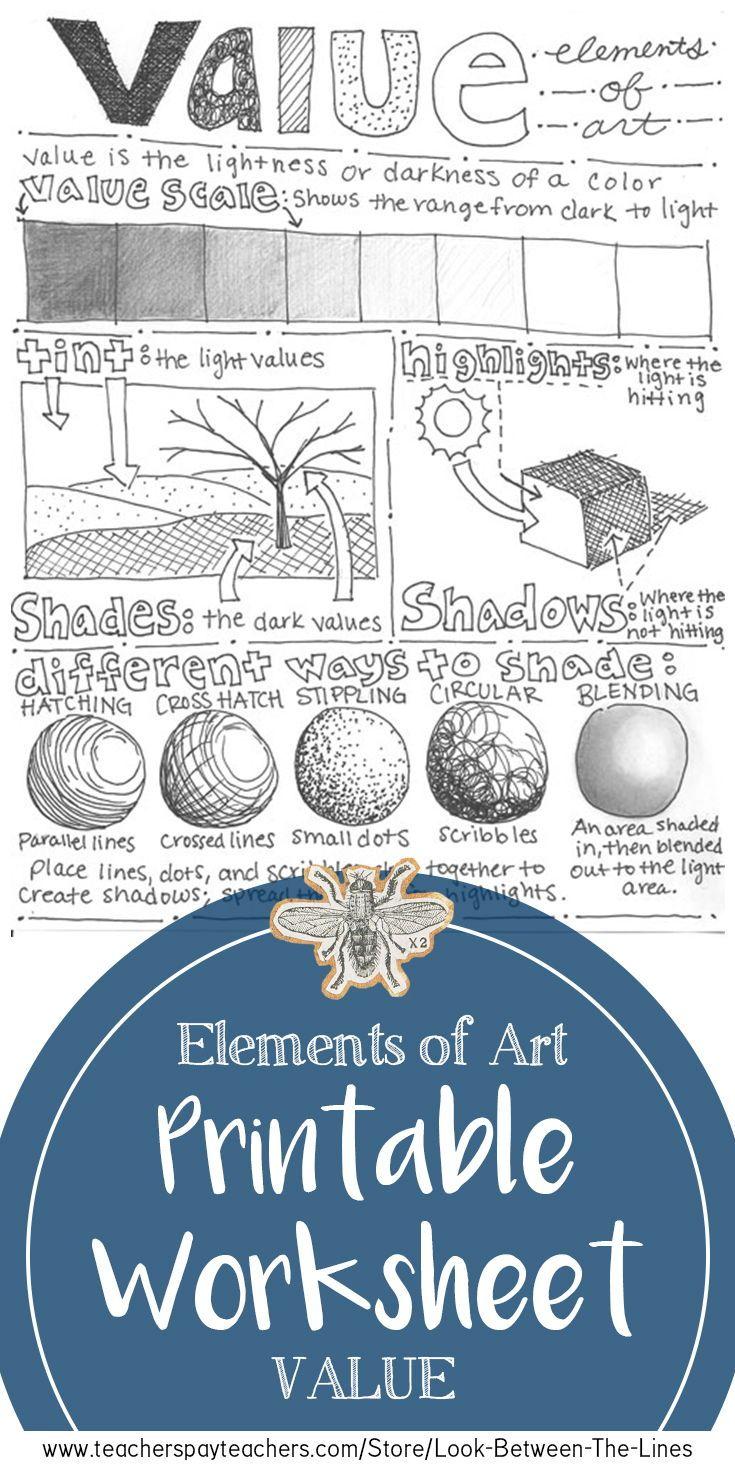 Element of Art (Value) Worksheet: Middle School or High School Art ...