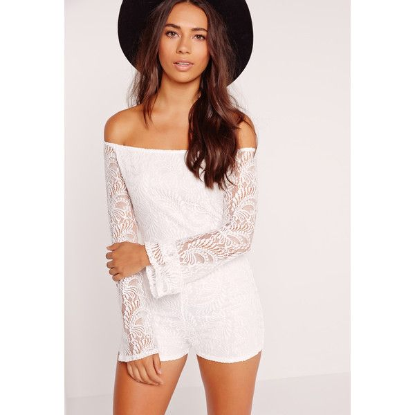 9a0cf0b54cff Missguided Lace Long Sleeve Bardot Playsuit ( 35) ❤ liked on Polyvore  featuring jumpsuits