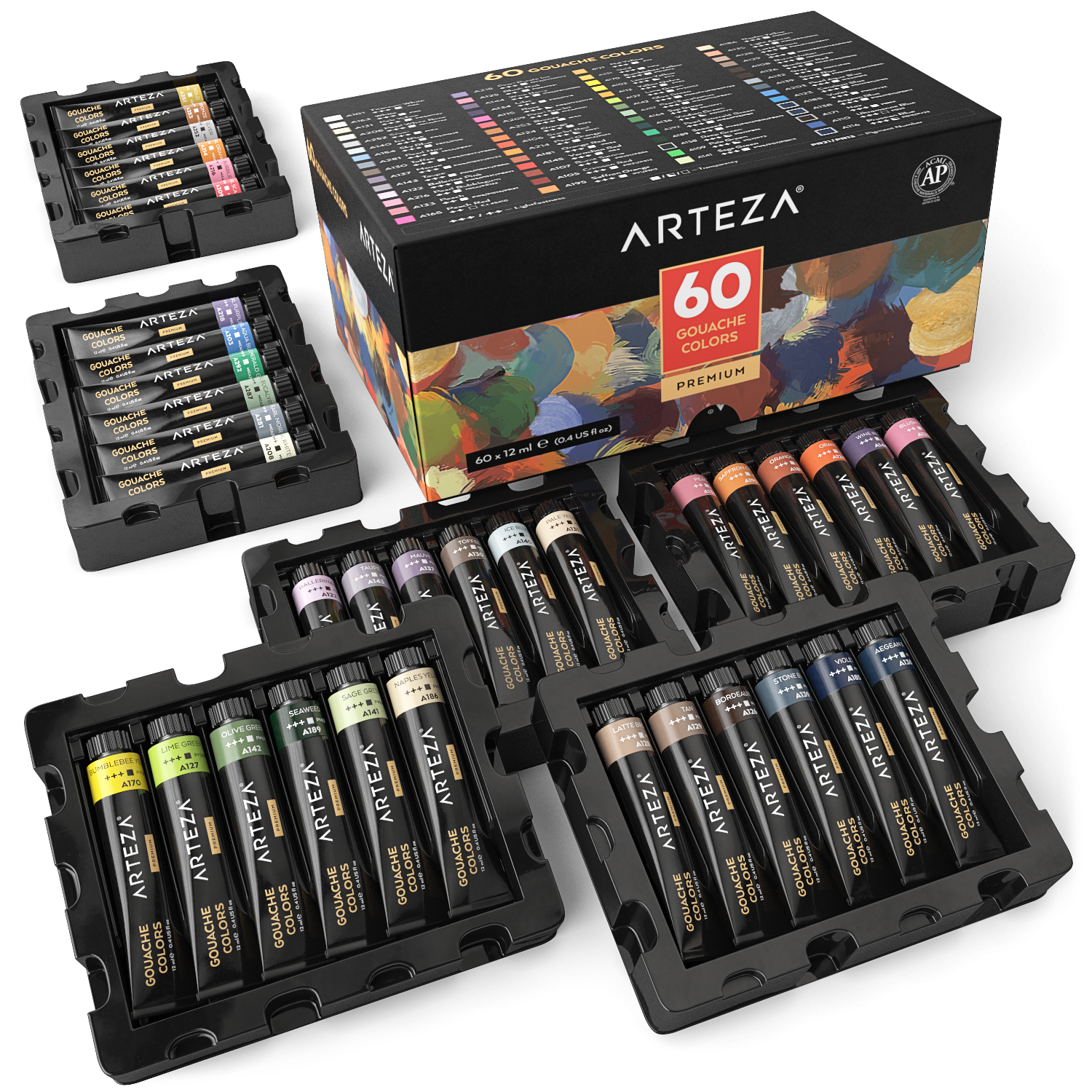 Gouache Premium Artist Paint, 12ml Tubes – Set of 60