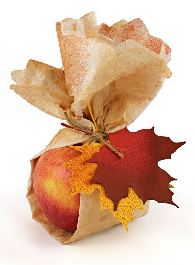 Gorgeous 'Autumn Harvest Gifts!' Wrap your garden goodies in this tissue paper   tag project. Super easy, beautiful leaves with a perfect faux texture thanks to Tattered Angels Glimmer Mists. Too pretty to eat! Leaf cutting files available inside Pazzles