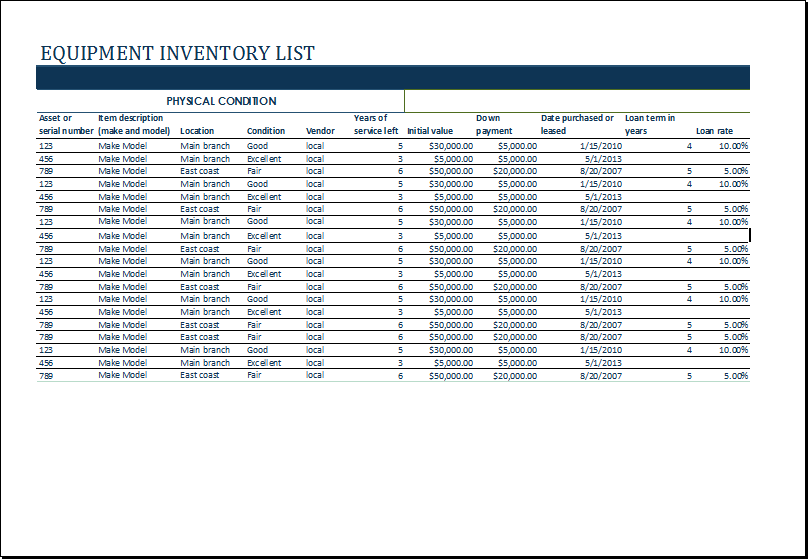 Equipment Inventory List Template At HttpWwwXltemplatesOrg