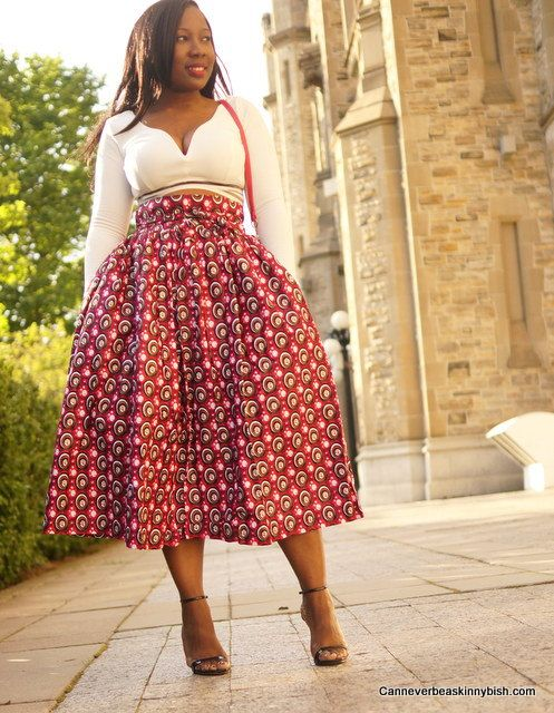 Pink Red Ankara High Waist Skirt with Bow; African Clothing ...