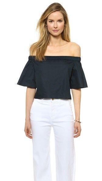 5558660e27b9 Tibi Off Shoulder Short Sleeve Top