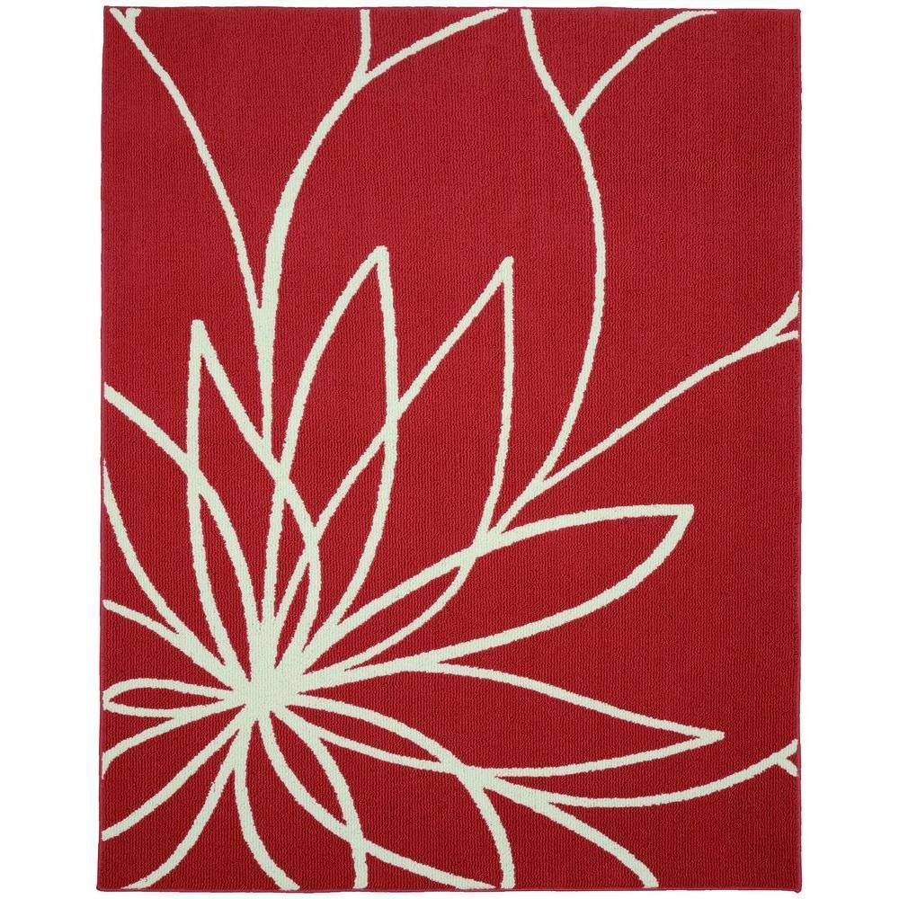 Garland Rug Grand Floral Santa Fe Coral/Ivory 8 ft. x 10