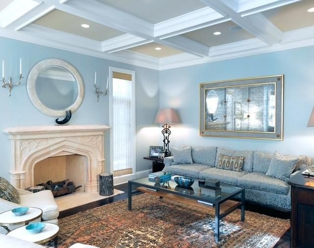 Light Teal Living Room Living Room Traditional Formal Living Room Idea In With Blue Walls A Stan Blue Walls Living Room Blue Living Room Blue Sofas Living Room