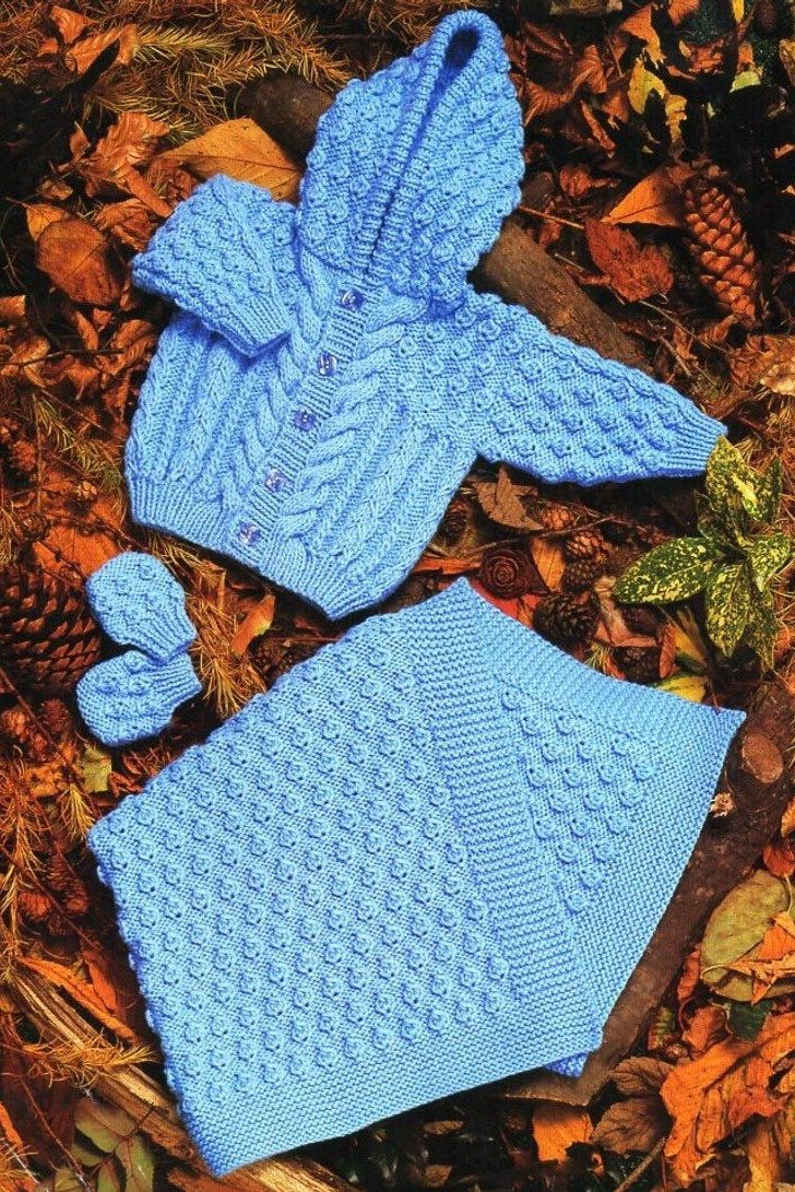 Vintage Knitting Pattern Baby Aran Hooded Cardigan Jacket ...