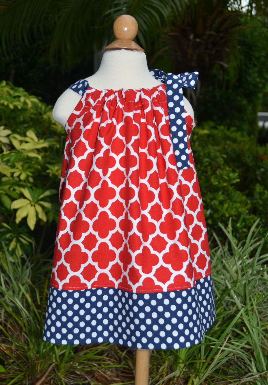 Girls 4th of July Pillowcase Dress - quatrefoil dress patriotic ...