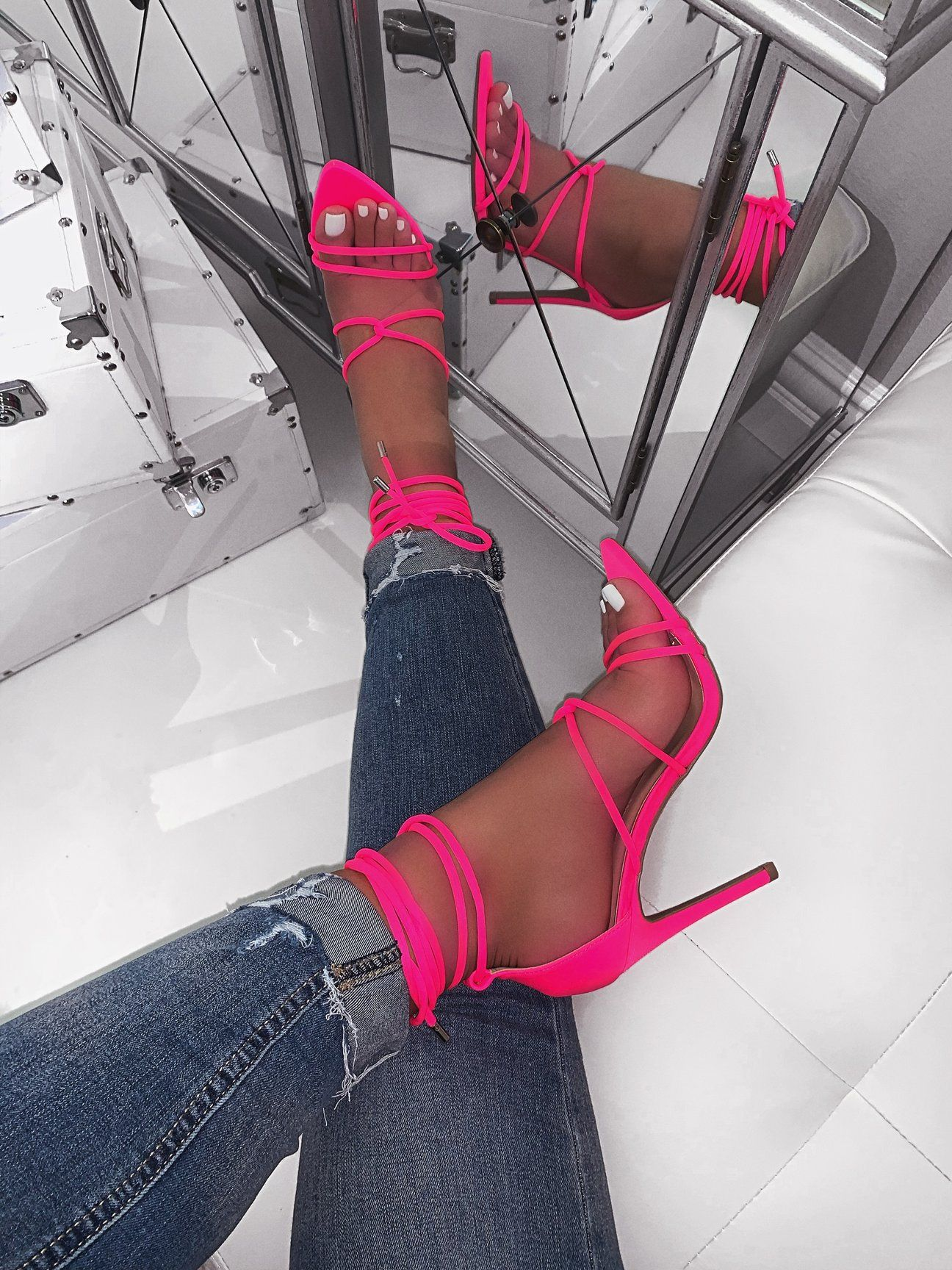 Hot Pink Lycra Material Strappy Lace Up