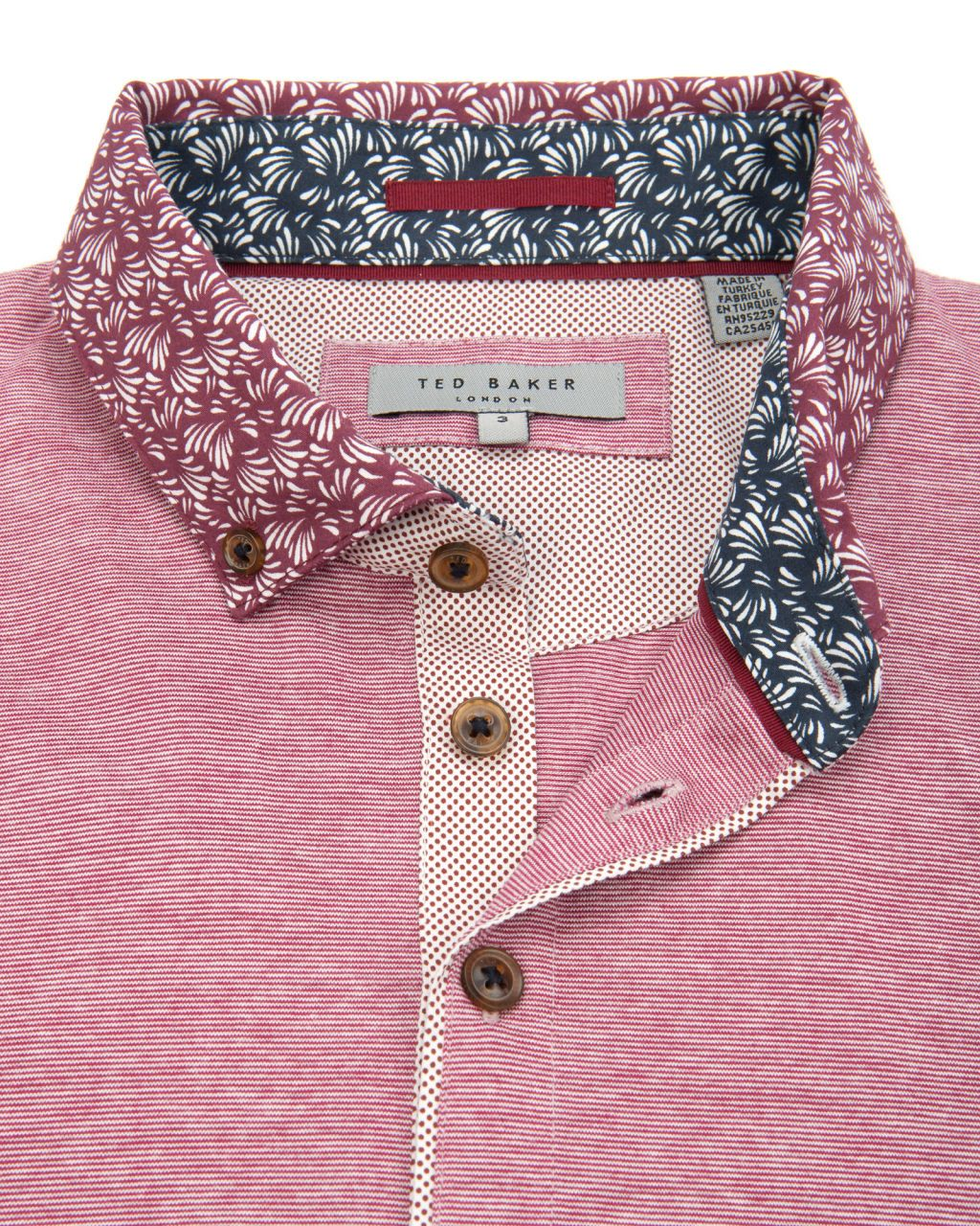 Printed collar polo pink tops u tshirts ted baker row merah
