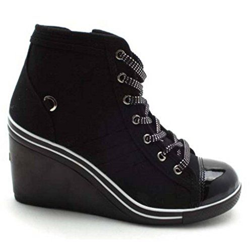 EpicStep Women's Black Canvas Shoes High Top Wedges High