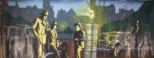 Mural – 3 Mobsters on Waterfront with City Skyline 8′ x 20′ (