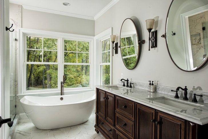 Bathroom. Amusing Master Bath Designs Including The Classic Storage Sinks  Made Of Dark Varnished Ebony