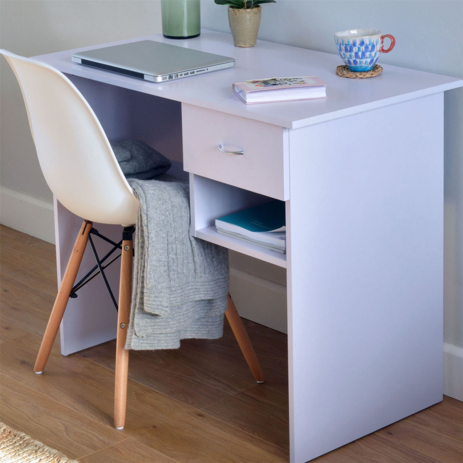 Modern Small Wooden Computer Desk Kids Study Workstation White H4home Furnitures Wooden Computer Desks Small Wooden Computer Desk Computer Desk Small Space