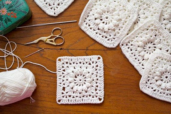PDF Crochet Pattern - Popcorn and Lace Square - US and UK terms ...